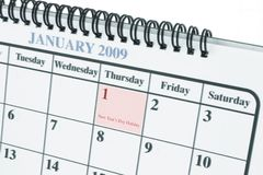January 1. 2009 Calendar showing a close up page in January royalty free stock photos