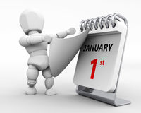 January 1st new years day. 3D render of a man with a calender tearing off a page royalty free illustration
