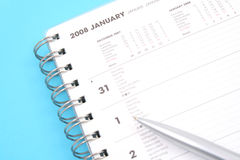 January 2008. Close-ups of year planner on blue background Stock Photography