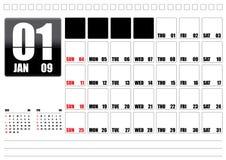 January 2009. Calendar template of January 2009, editable text field Stock Illustration