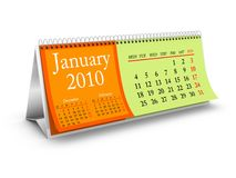 January 2010 Desktop Calendar Royalty Free Stock Image