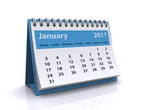 January 2011 calendar. 3d render of a January 2011 calendar isolated on a white background Stock Images