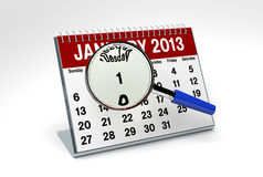 January 2013 Calendar. On white background with magnifying glass Royalty Free Stock Image