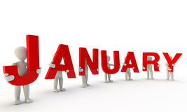 January. 3D humans forming red word January made from 3d rendered letters isolated on white Royalty Free Stock Images