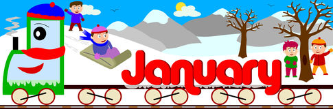 January. Illustration showing January written on a train surrounded by a funny and colouful winter landscape. You can find all the months in my portfolio Royalty Free Stock Images