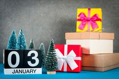 Free January 3rd. Image 3 Day Of January Month, Calendar At Christmas And New Year Background With Gifts And Little Christmas Stock Image - 105544921