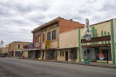 Alice Texas street view. January 11, 2016 Alice, Texas, USA: typical small-town victorian style architecture in the oil field servicing town Stock Photography