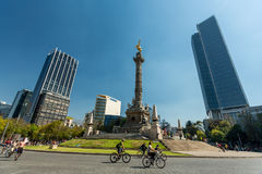 January 22, 2017. The Angel of Independence, Mexico City. People waking and cycling Royalty Free Stock Images