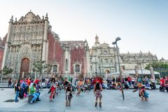 January 21, 2017. Aztec dance at Metropolitan Cathedral, Mexico City Royalty Free Stock Images