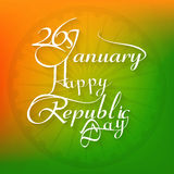 26 january beautiful calligraphy happy republic day text. Tricolor background design Stock Images