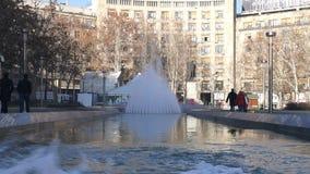 January 13, 2014, Belgrade, Serbia, Fountain at Nikola Pasic square Royalty Free Stock Photos