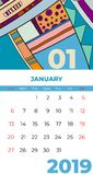 2019 january calendar abstract contemporary art vector. Desk, screen, desktop month 01,2019, colorful 2019 calendar template stock illustration