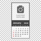 January 2018 calendar. Calendar planner design template with pla. Ce for photo. Week starts on sunday. Business vector illustration Stock Images