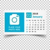January 2018 calendar. Calendar planner design template with pla. Ce for photo. Week starts on sunday. Business vector illustration Royalty Free Stock Photo