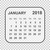 January 2018 calendar. Calendar planner design template. Week st. Arts on Sunday. Business vector illustration Royalty Free Stock Image