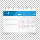 January 2018 calendar. Calendar planner design template. Week st. Arts on Sunday. Business vector illustration Royalty Free Stock Photography