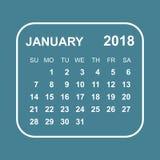 January 2018 calendar. Calendar planner design template. Week st. Arts on Sunday. Business vector illustration Stock Images