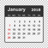 January 2018 calendar. Calendar planner design template. Week st. Arts on Sunday. Business vector illustration Royalty Free Stock Images