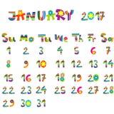 January 2017 calendar Stock Photos