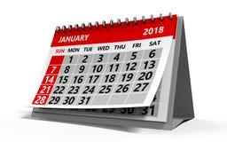 January 2018 calendar. 3d illustration of january 2018 calendar Royalty Free Stock Photo