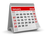 January 2018 - Calendar. January 2018 , This is a 3d rendered computer generated image. Isolated on white Stock Image