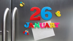 January 26 calendar date made with plastic magnetic letters Stock Photos
