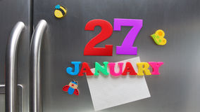 January 27 calendar date made with plastic magnetic letters Royalty Free Stock Photography