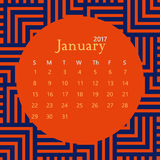 2017 January calendar design with geometric background | colorful modern business Royalty Free Stock Images