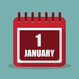 1 january. Calendar in a flat design. Vector illustration. 1  january. Calendar in a flat design. Vector illustration Stock Photography