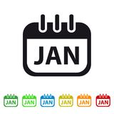 January Calendar Icon -  Colorful Vector symbol. Isolated On White Background Stock Photos