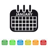 January Calendar Icon -  Colorful Vector symbol. Isolated On White Background Royalty Free Stock Photo