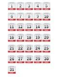 January Calendar Icons Stock Photos
