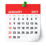 January 2017 - Calendar. Isolated on White Background. 3D Illustration Stock Photos