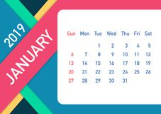 January 2019 Calendar Leaf. Calendar 2019 in flat style. A5 size. Vector illustration. January 2019 Calendar Leaf. Calendar 2019 in flat style. A5 size. Vector royalty free illustration