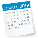 January 2019 Calendar Leaf - Vector Illustration stock illustration