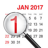 1 January calendar with magnifer. Stock Photos
