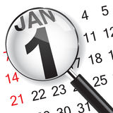 1 January calendar with magnifer. Stock Images