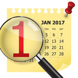 1 January calendar with magnifer. Royalty Free Stock Image