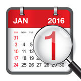 January 2016. Calendar & Magnifer on white background Royalty Free Stock Image