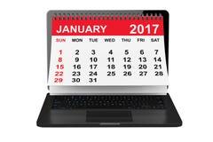 January 2017 calendar over laptop screen. 3d rendering. 2017 year calendar. January calendar over laptop screen on a white background. 3d rendering vector illustration