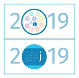January Calendar Page Template 2019. Design of months in form of circles in the middle of number 2019. Name of month is abbreviated with increased first letter vector illustration