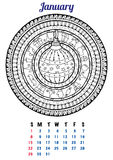 2017 January Calendar Planner Design. Mandala winter Christmas pattern Royalty Free Stock Photography