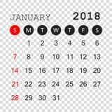 January 2018 calendar. Calendar planner design template. Week st. Arts on Sunday. Business vector illustration Royalty Free Stock Photos