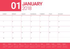 January 2018 calendar planner vector illustration Royalty Free Stock Image