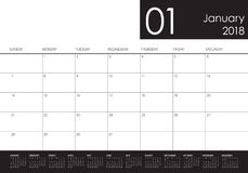 January 2018 calendar planner vector illustration Royalty Free Stock Photography