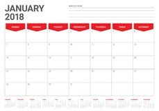January 2018 calendar planner vector illustration Royalty Free Stock Photo