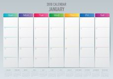 January 2018 calendar planner vector illustration Stock Photography