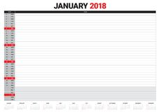 January 2018 calendar planner vector illustration Royalty Free Stock Images