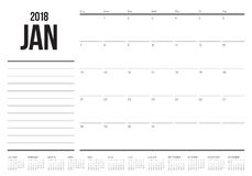 January 2018 calendar planner vector illustration. Simple and clean design Stock Image