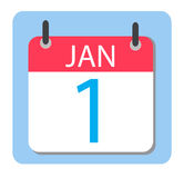 1 January Calendar. Red Calendar icon. Stock Image